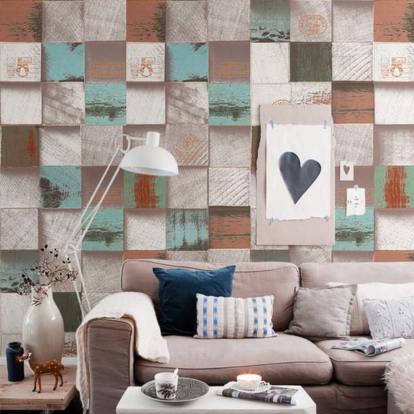 Compre Vintage Rústico 3d De Madera Wallpapers Home Decor Industrialized Rejilla Rollo De Papel De Pared Para Shop Walls Papel Murales Vinilos Pared A