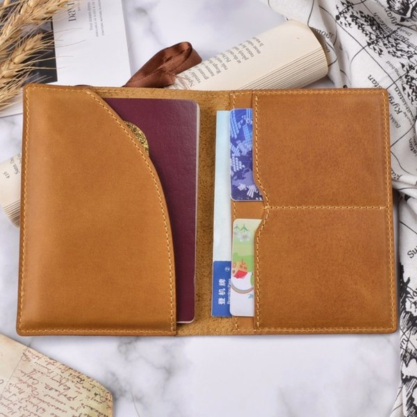 2018 New Leather Passport Cover Solid Credit ID Card Case Holder Genuine Oil Wax Cowhide Leather Business Unisex Travel Wallet