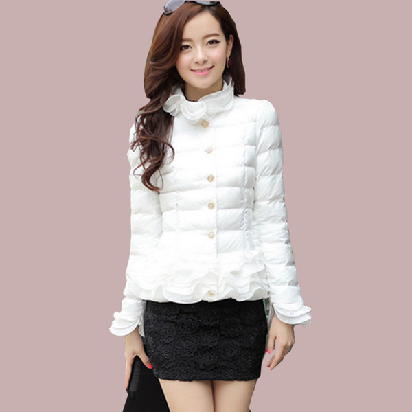 2018 winter jacket women coat jacket short Ruffles spring girl sweet white down parka women jackets Autumn Women's clothing