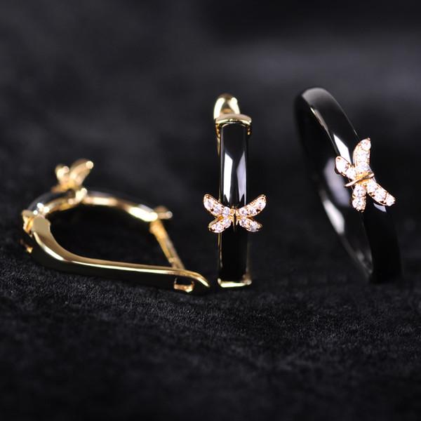 whole saleDazz Zircon Black Ceramic Jewelry Sets Earrings Ring With Mini Butterfly Women Bijoux China Porcelain Thin Aros Aretes Joya