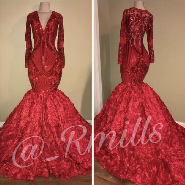 2018 African Sequined Mermaid Prom Dresse Long Sleeves 3D Floral Lace Flower Formal Party Evening Gowns