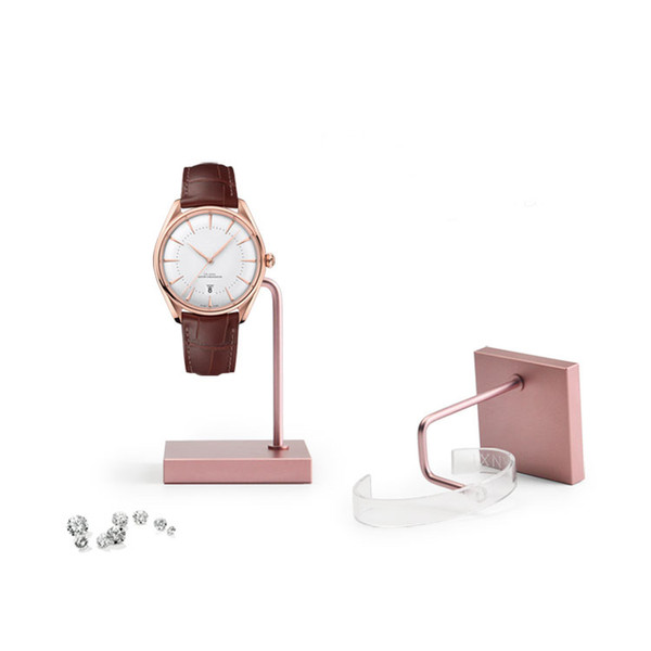 Luxury Metal Watch Display Stand Square Base with Acrylic Watch Clip Wrist Watches Bangle Holder Prop for Boutique Shop Showcase Trade Show