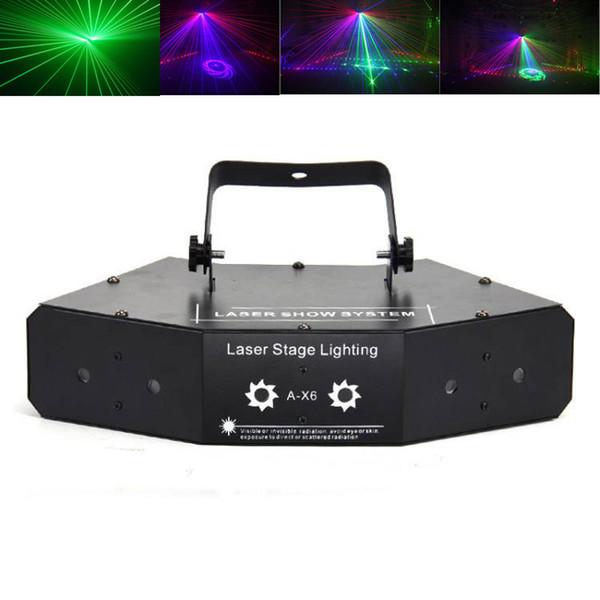 Neue led sechs auge rot grün blau scannen bunten strahl laserlicht ktv raum laser bühnenlicht bar flash lampe mit muster
