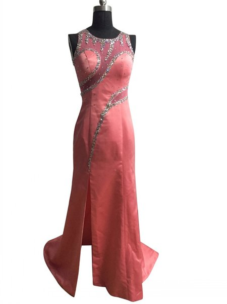 Старинные бисером платье выпускного вечера сексуальная сторона щелевая длинные O шеи атласные вечерние платья vestidos де formatura