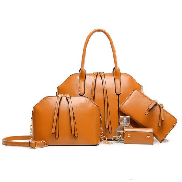 New Europe and the United States brand handbag oil wax shoulder portable oblique retro bag across 4pcs/set handbag