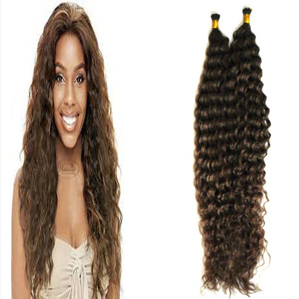 I Tip Remy Extensions de cheveux humains 100g Kinky Curly 1g / Brins Extension de cheveux de Remy Hair pré-collés sur la capsule de kératine