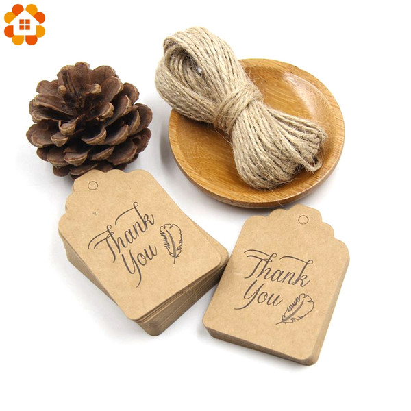 50PCS Paper Tags With 10Meters Rope DIY Craft Label Lage Party Favor Wedding Party Note Hang Tag Gift Wrapping Supplies
