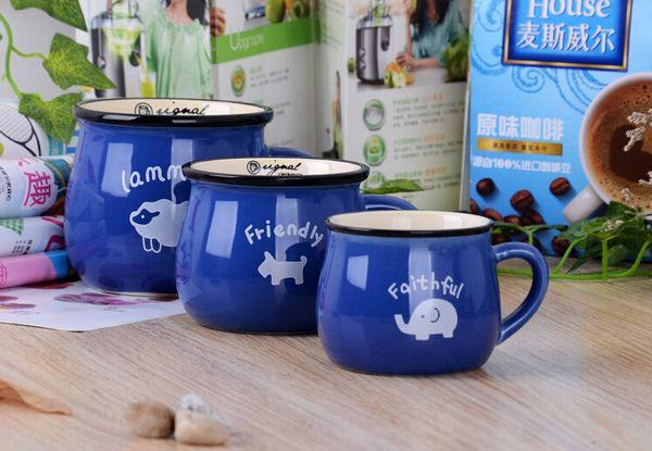 Creative mug milk breakfast coffee cup retro ceramic cup big belly cup color glaze logo custom