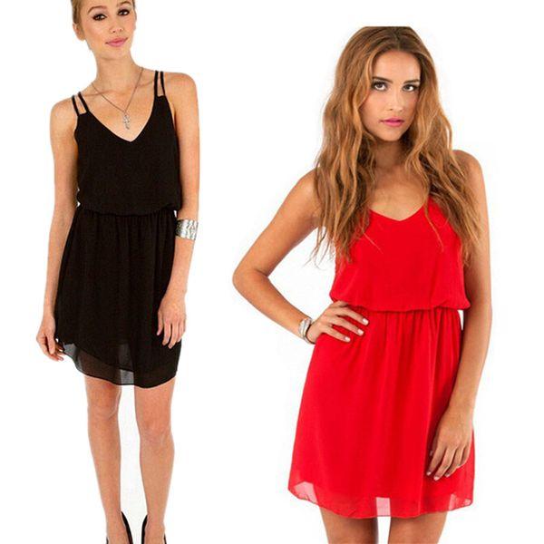 Plus Sizes Sexy women Party Dress spaghetti strap bohemian strap summer Chiffon dress solid color black red High Waist v neck