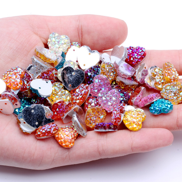 12mm 40pcs Heart Shape AB Colors Flatback Resin Rhinestones Gems With 2 Holes Sew On DIY Scrapbooking Craft Jewelry Decoration
