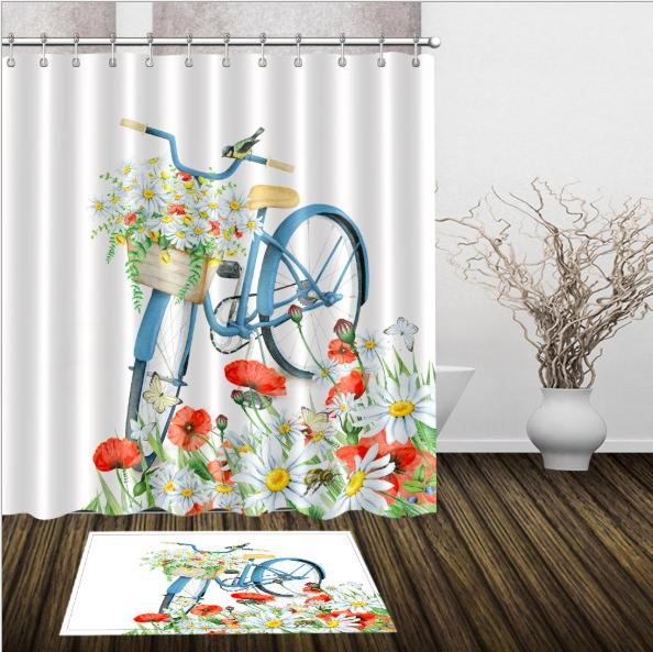 Fashion Bicycle 3D pattern Print Custom Waterproof Bathroom Modern Shower Curtain Polyester Fabric Bathroom Curtain Door mat sets