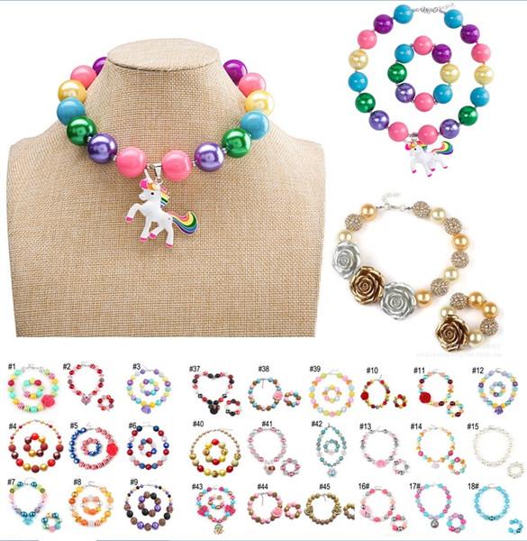 60 Design Baby Girl Pendant Chunky Bead Necklace Bracelet American Flag Unicorn Diamond Rose Skull Head Bow Bubblegum Toddler Party Jewelry