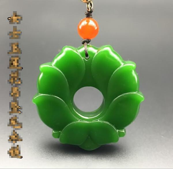Hetian jade jasper loto señora jade colgante suéter femenino cadena jad colgante collar