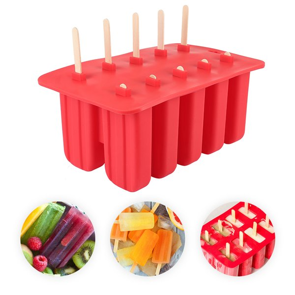 Diy Silicone Ice Cream Cube Mold 10 Case Popsicle Mold Puck Ice Cream Ice Tray Pop Popsicle Frozen Maker Kitchen Tools
