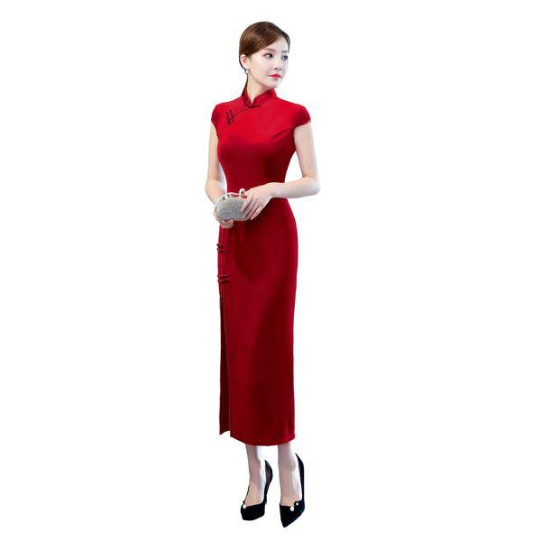 Shanghai História 2018 Chegada nova manga curta Qipao vestido longo chinesa alta Dividir Cheongsam Velvet Sólidos Vestido Qipao por Mulheres