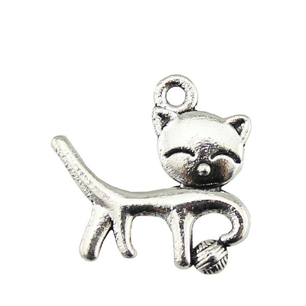 10pcs Smile Cat Pendant Charms For Jewelry Making Charm Cat Playing Ball Antique Bronze Antique Silver Charms 18x19mm