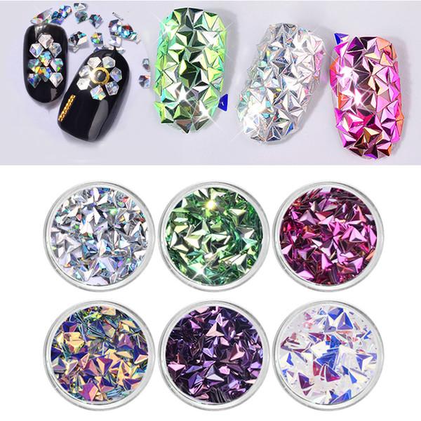 top popular 6Pcs set Chameleon AB Color Nail Sequins Glitters Triangle Diamond Rhombus Flakes Paillette Manicure Nail Art Decorations 2019