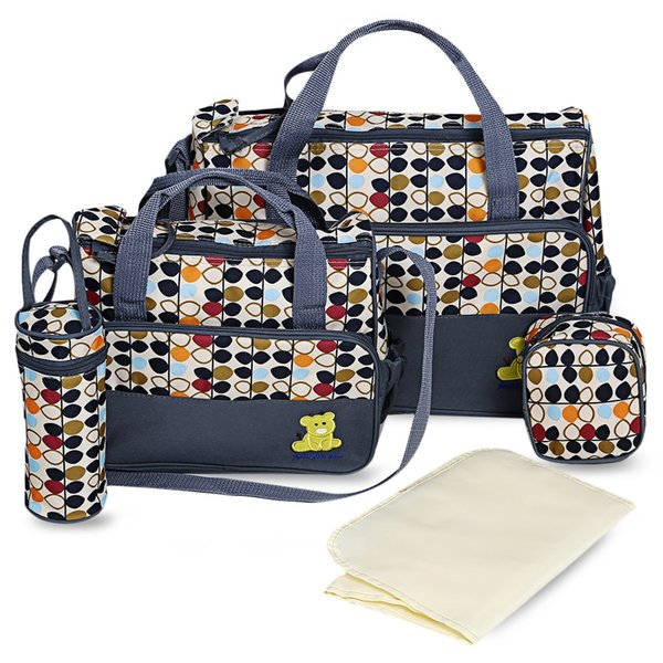 5pcs Portable Baby Diaper Bag Suits Mom Baby Bottle Holder Zipper Handbag Pad Bottle Holder Food Bags Mummy Stroller Nappy Bags