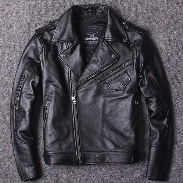 Men's Riding motorcycle clothing Leather Jacket oblique zipper Lapel Neck top cowhide genuine leather Motor Cycling suit