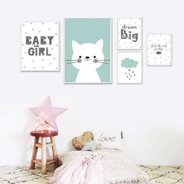 Kawaii Baby Nursery Wall Art Canvas Painting Cartoon Posters and Prints Nordic Kids Decoration Pictures Baby Bedroom Decor