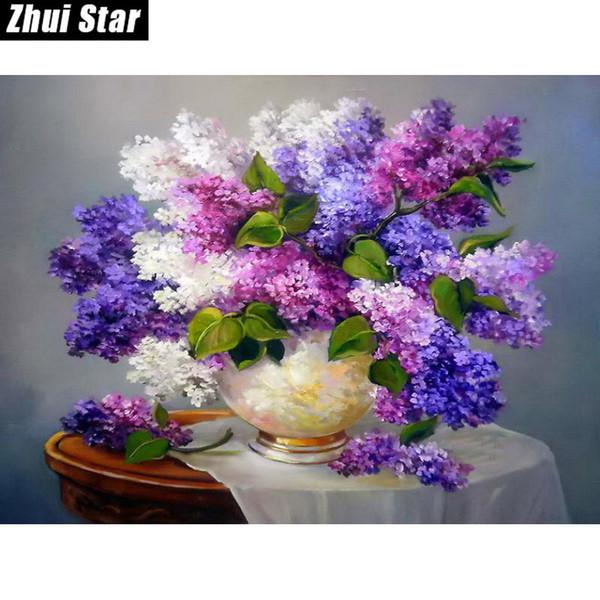 5D DIY Diamond Painting Needlework Square Full Diamond Embroidery Purple Lilac Flower Vase Painting Pattern Home Decor Gift