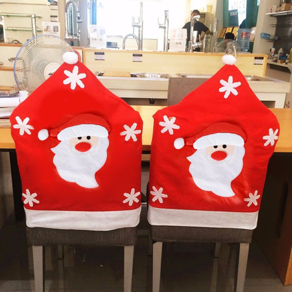 6Pcs Creative Xmas Style Home Seat Cover Christmas Deer Santa Claus Chair Cover Chairs Ornaments Home Decoration Accessories