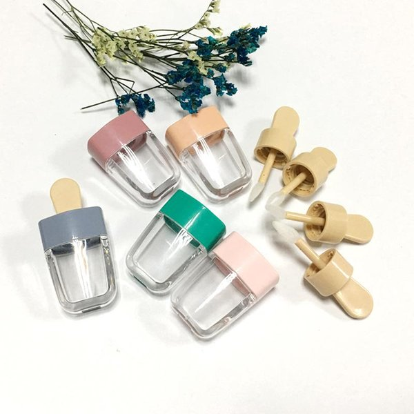Empty Ice Cream Pink/Green Lip Gloss Tube DIY Lip Balm Container for liquid Cosmetic Lipstick Plastic Makeup Bottles