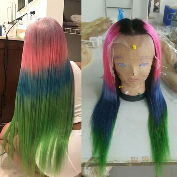 4T Ombre Full Lace Human Hair Wigs For Black Women T1b/Pink/Blue/Green Straight Brazilian Virgin Hair Lace Front Wigs Natural Hairline