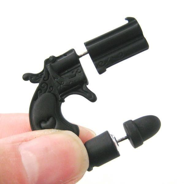 New Fake Double Pistol Gun Shaped Faux Plug Stud Earrings for Women Toy gun model earrings for gift bulk jl-104
