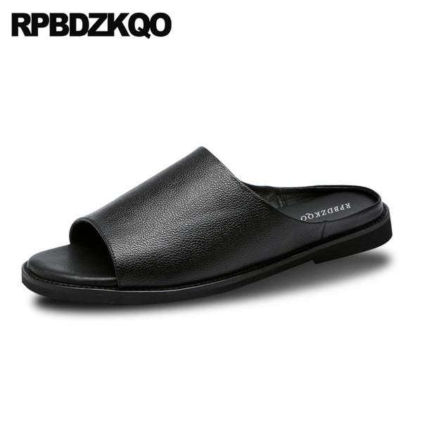 Slip On Men Sandals Leather Summer Casual Designer Black Japanese Open Toe Slides 2018 Flat Shoes Genuine High Quality Slippers
