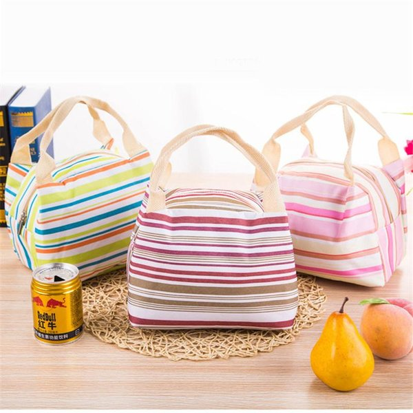 Totes Bags Canvas Stripe Picnic Lunch Drink Thermal Insulated Cooler Women Bag 450ML Portable Carry Bolsas Lunch Box 5 Colors