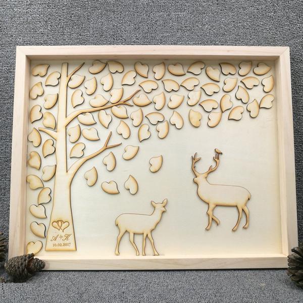 Охота на оленя и оленя персонализированные Гостевая книга из натурального дерева свадьба юбилей подарок Гостевая книга с любовью сердца