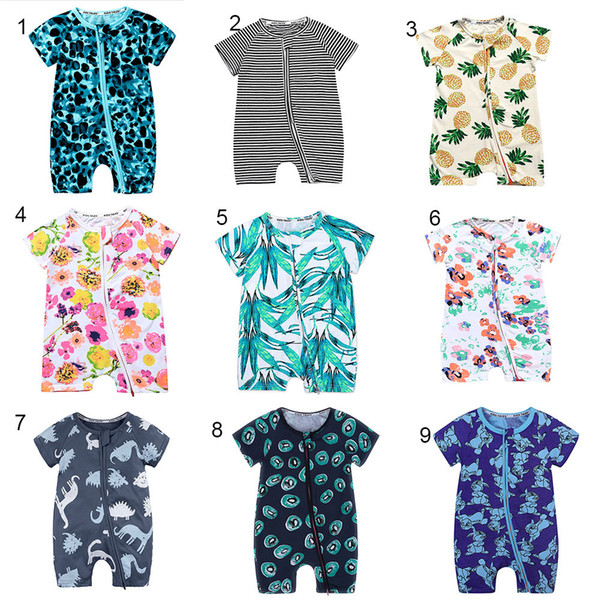 top popular Baby boys girls Pineapple Floral fruit Romper INS Newborn Leaves flower striped Zipper Dinosaur Jumpsuits summer kids Climbing clothes C4317 2019