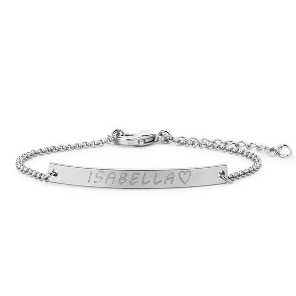 2018 Personalized Name Bracelet Women Fashion Jewelry Bracelet Bangles Stainless Steel Geometric Bar Braclet Best Friend Gift