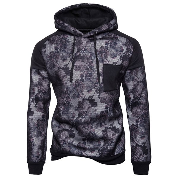 Men Thick Hoodies Grid Design Fleece Floral Hooded Sweatshirts Sports Casual Pullovers