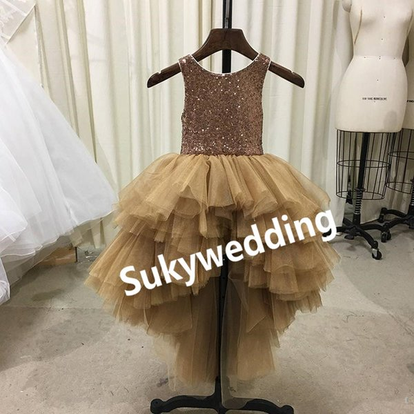Sparky Gold Sequin Flower Girl Dress for Wedding High Low Ruffles Tutu Tulle skirt Girls Pageant Dresses Jewel Kids Birthday Party Dress