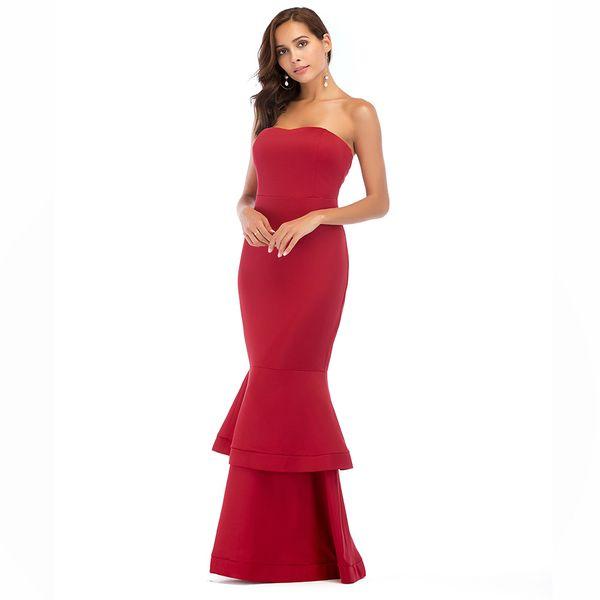 S-2XL women fashion off shoulder strapless dress brand lady summer casual maxi dress night club evening party fishtail dress