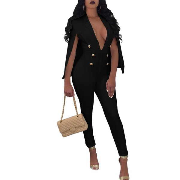 Sexy Profundo cuello en V Fiesta Nocturna Cape Jumpsuit Mamelucos Mujeres EleSkinny Work OL Business Body Femme Playsuit Mujeres Overoles