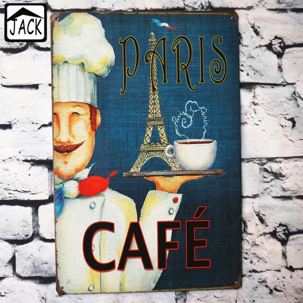 PARIS CAFE Eiffel Tower 20*30 CM Vintage Sign Coffee Shop Home Decor House Restaurant Bar Decoration Poster Metal Tin Signs