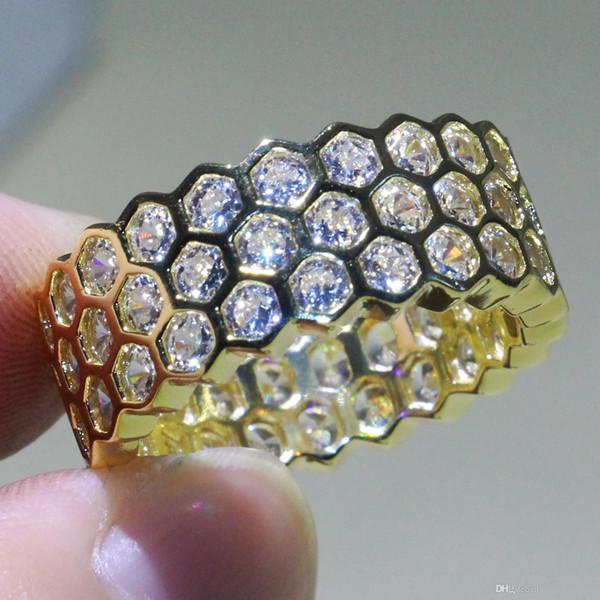 Hexagon Geometric rings 925 Silver&Gold Fill Luxury Jewelry Net White Topaz CZ Diamond Eternity Circle Wedding Band Ring for Women Gift