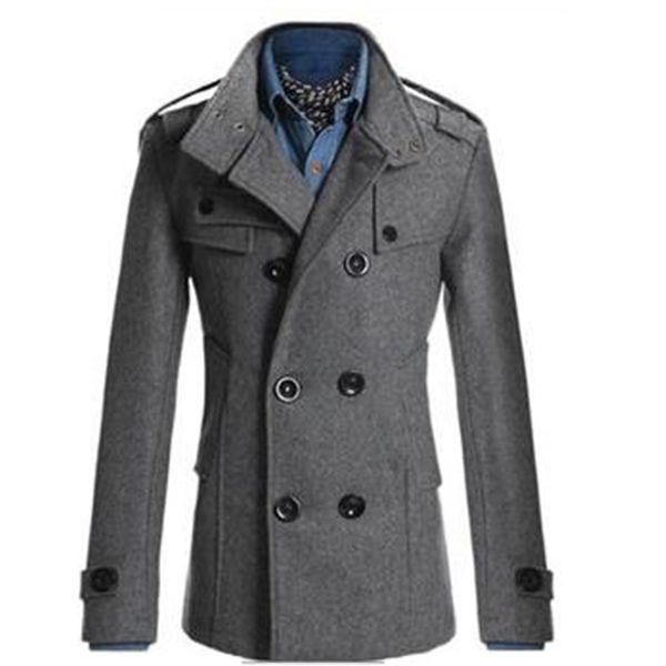 Abrigo de lana vintage de Inglaterra para hombres Chaqueta delgada mezclas de lana Prendas de abrigo Abrigo de algodón de doble botonadura Abrigo de invierno grueso
