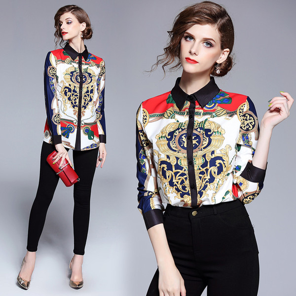 top popular 2018 Runway Luxury Fashion Print OL Women Ladies Casual Office Button Font Lapel Neck Long Sleeve Top Shirt Blouse New Arrival Wholesale 2021