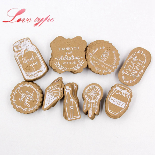 heap Party DIY Decorations 50PCS DIY Kraft Paper Tags Handmade/Thank You Multi Style Crafts Hang Tag With Rope Labels Gift Wrapping Suppl...