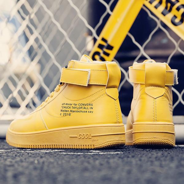 Туфли на высоком каблуке кроссовки Мужская обувь хип-хоп корейская версия Ins горячие спортивные желтый прилив воздуха обувь Force No. 1