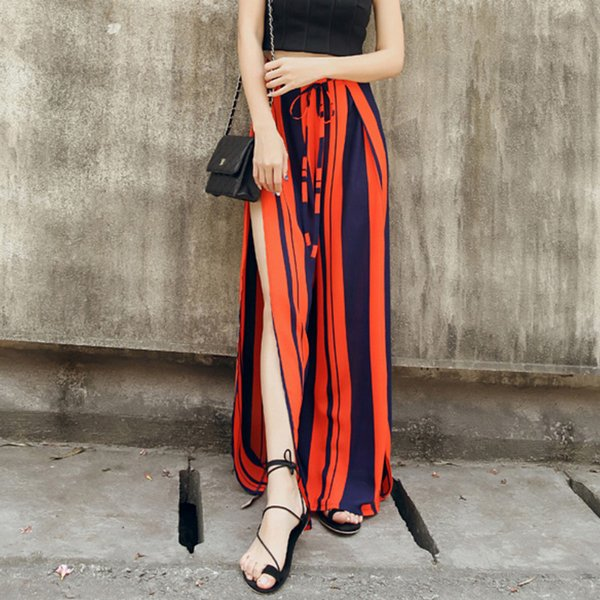 Fashion Loose Chiffon Summer Long Wide Leg Bohemian Split Trousers High Waist Striped Casual Sexy Pants