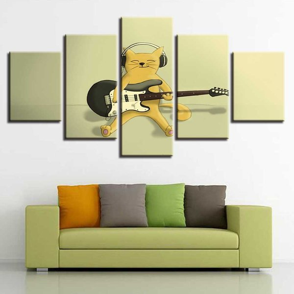Modular Framework Paintings 5 Pieces HD Printing Cartoon Animal Cute Cats Play The Guitar Canvas Pictures Art Bedroom Wall Decor