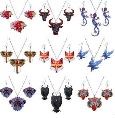 Heat transfer necklace earrings set Europe and the United States acrylic sweater chain fashion animal necklace set female wholesale