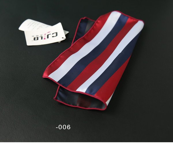 Stripe Series 24*24cm Mens Pocket Small Suit Squares Hankies Polyester Hanky Handkerchief Accessory Free Shipping Neckties Ties Fashion
