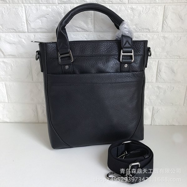 Men's double handle high-end briefcase Classic European and American mouse full leather bag