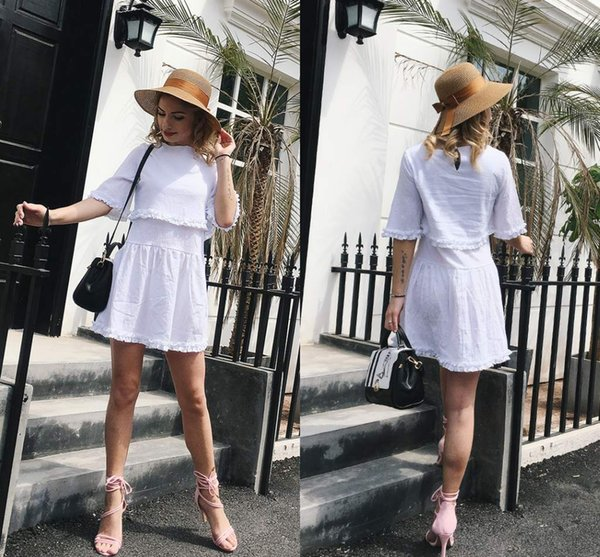 ee0ac3d7671dca 2018 New Popular White Half Sleeves Casual Dresses Fake Two Piece Cotton  Summer Women Clothing FS3473